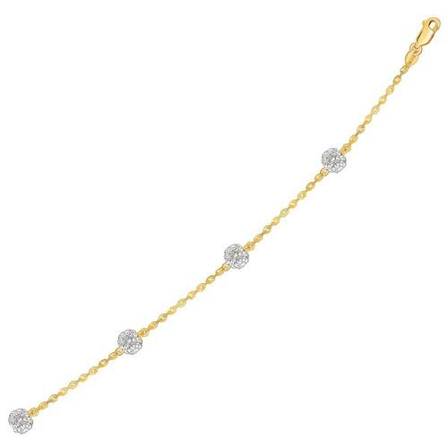 14k Yellow Gold Bracelet with Crystal Studded Ball Stations, size 7.25''