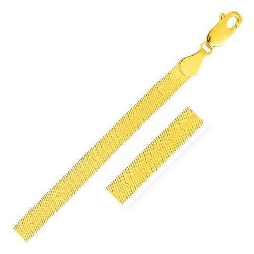 5.0mm 14k Yellow Gold Super Flex Herringbone Bracelet, size 8''