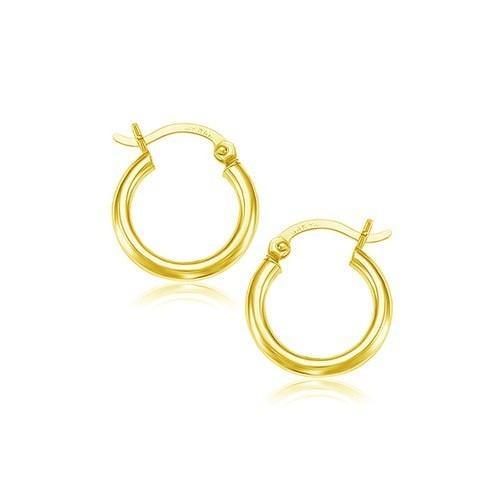 14k Yellow Gold Polished Hoop Earrings (15 mm)