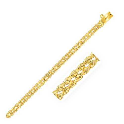 3.0 mm 14k Yellow Gold Two Row Rope Bracelet, size 8''