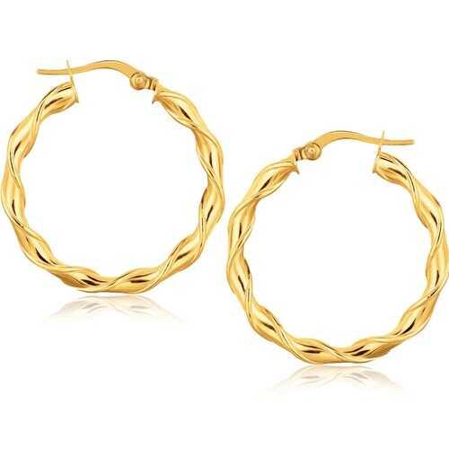 14k Yellow Gold Hoop Earrings (1 1/8 inch)