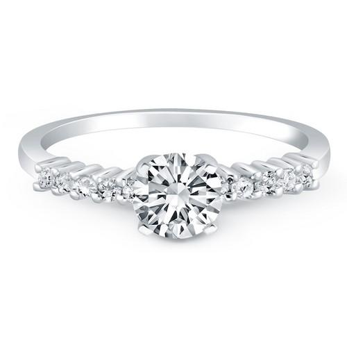 14k White Gold Shared Prong Accent Diamond Engagement Ring, size 8.5