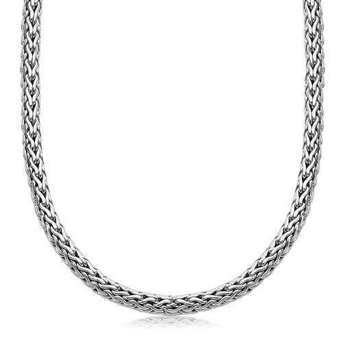 Oxidized Sterling Silver Wheat Style Chain Men's Necklace, size 22''