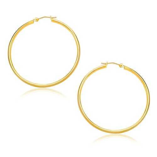 14k Yellow Gold Polished Hoop Earrings (30mm)