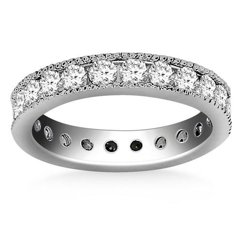14K White Gold Antique Channel Set Round Diamond Eternity Ring, size 5