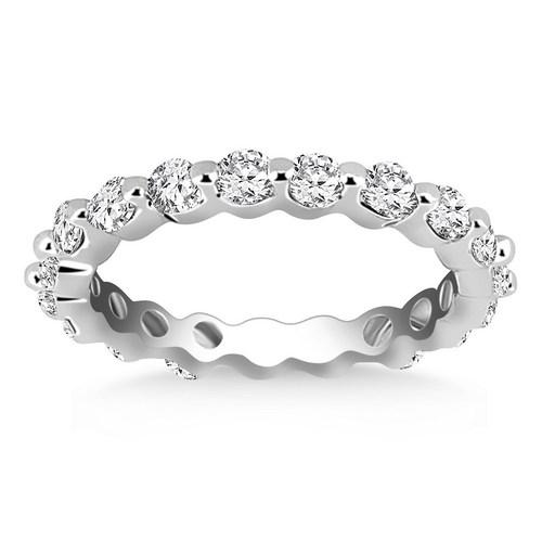 14K White Gold Common Prong Round Cut Diamond Eternity Ring, size 4