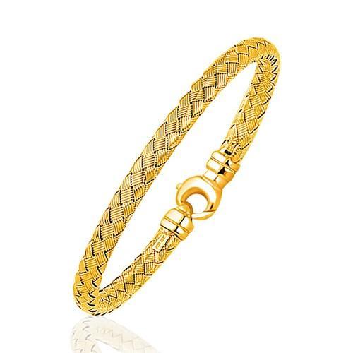 Fancy Weave Bangle in 14k Yellow Gold (5.0mm), size 7.25''