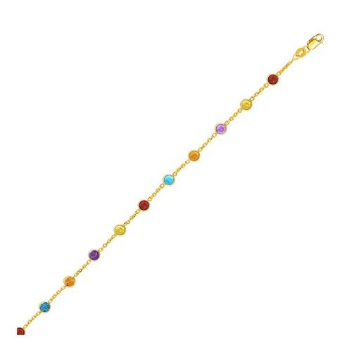 14k Yellow Gold Cable Anklet with Round Multi Tone Stations, size 10''