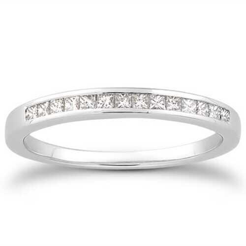 14k White Gold Channel Set Princess Diamond Wedding Ring Band, size 5.5