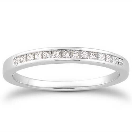 14k White Gold Channel Set Princess Diamond Wedding Ring Band, size 7