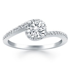 14k White Gold Bypass Swirl Diamond Halo Engagement Ring, size 8.5