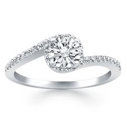 14k White Gold Bypass Swirl Diamond Halo Engagement Ring, size 9