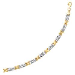 14k Two-Tone Gold Fancy X Line Bracelet, size 7.25''