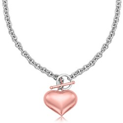 Sterling Silver Rolo Chain Necklace with a Rose Tone Puff Heart Accent