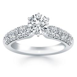 14k White Gold Triple Row Pave Diamond Engagement Ring, size 5.5