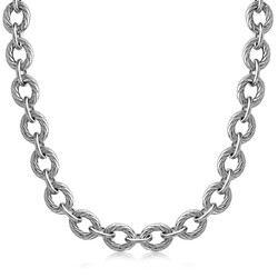 Sterling Silver Chain  Rhodium Plated Necklace with Diamond Cuts (39.0g), size 18''