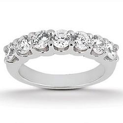 14K White Gold Diamond Scalloped Shared U Prong Setting Wedding Ring Band, size 8