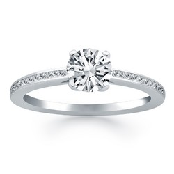 14K White Gold Channel Set Cathedral Engagement Ring, size 7