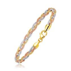 14k Tri-Tone Gold Braided Design Multi Strand Mirror Spring Bracelet, size 7.25''