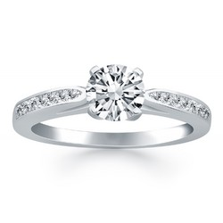 14k White Gold Cathedral Engagement Ring with Pave Diamonds, size 6