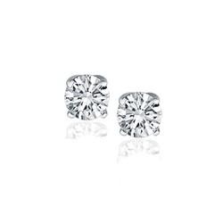 14k White Gold Diamond Four Prong Stud Earrings (1 cttw)