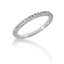 14K White Gold Engraved Fishtail V Pave Diamond Wedding Ring Band, size 6