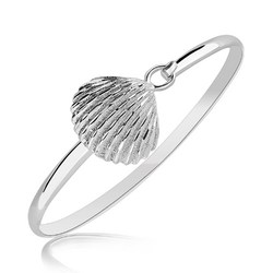 Sterling Silver Rhodium Plated Thin Bangle with a Clam Shell Accent