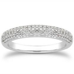 14k White Gold Triple Multi-Row Micro- Pave Diamond Wedding Ring Band, size 7