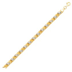 14k Two-Tone Gold Fancy Weave Bracelet with Contrasting Finish, size 7.25''