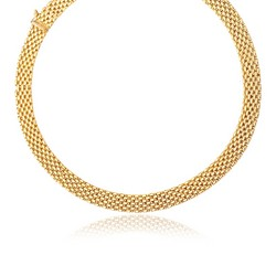 14k Yellow Gold Flexible Panther 9.0mm Line Necklace, size 17''