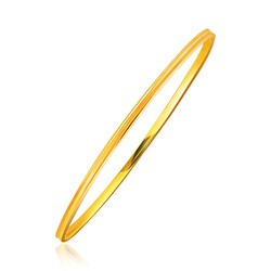 14k Yellow Gold Concave Motif Thin  Stackable Bangle, size 8''