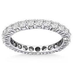 14k White Gold Ageless Round Cut Diamond Eternity Ring, size 5.5