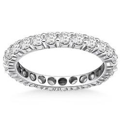 14k White Gold Ageless Round Cut Diamond Eternity Ring, size 7.5