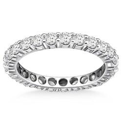 14k White Gold Ageless Round Cut Diamond Eternity Ring, size 8
