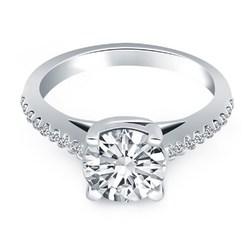 14k White Gold Trellis Diamond Engagement Ring, size 4