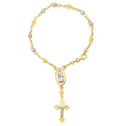 14k Tri-Color  Gold Rosary Style Bracelet, size 7''