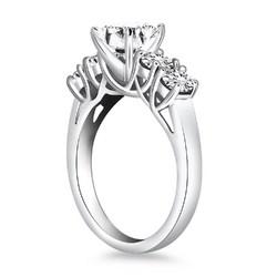 14k White Gold Five Stone Diamond Trellis Engagement Ring, size 7