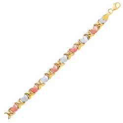 14k Tri-Color Gold Fancy Satin Heart Line Bracelet, size 7.25''