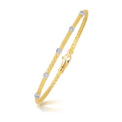 14k Two Tone Gold Diamond Accent Station Basket Weave Bracelet, size 7.25''
