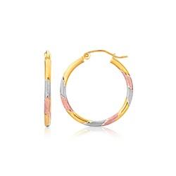14k Tri-Color Textured Hoop Earrings (1inch Diameter)