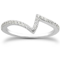 14k White Gold Fancy Zig Zag Pave Diamond Wedding Ring Band, size 4