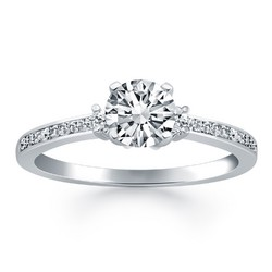 14K White Gold Diamond Accent Engagement Ring, size 8