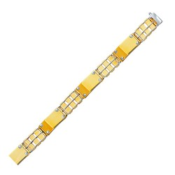 14k Two-Tone Gold Men's Bracelet with Screw Embellished Bar Links, size 8.5''
