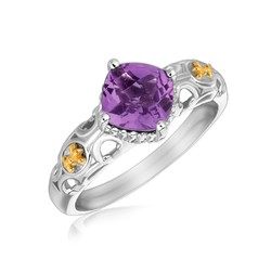 18K Yellow Gold and Sterling Silver Ring with Amethyst and Fleur De Lis Motifs, size 5