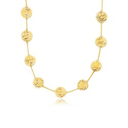 14k Yellow Gold Textured Disc Long Layering Necklace, size 38''