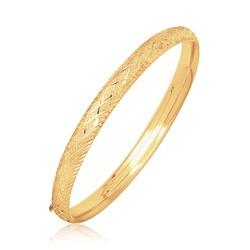 14k Yellow Gold Diamond Carved Bangle (6.0 mm), size 7''