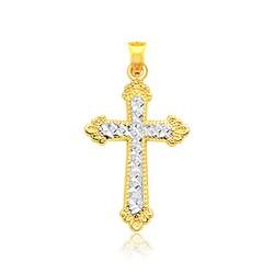 14k Two Tone Gold Diamond Cut Cross Pendant