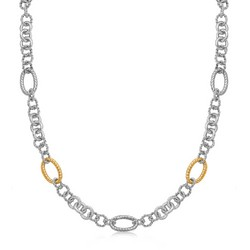 18k Yellow Gold and Sterling Silver Rhodium Plated Multi Design Chain Necklace, size 38''