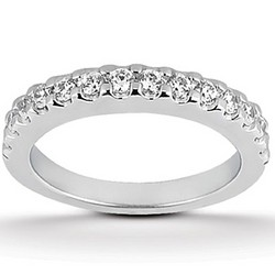 14K White Gold Shared Prong Diamond Wedding Ring Band, size 5