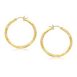 14k Yellow Gold Fancy Diamond Cut Hoop Earrings (35mm Diameter)